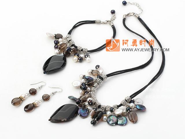 珍珠水晶玛瑙套链