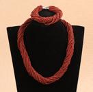 褐色瓷珠项链手链套装