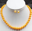 8-9mm黄色珍珠项链耳钉套装