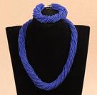 深蓝色瓷珠项链手链套装