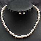 白珍珠项链耳钉套装