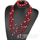 珊瑚珍珠套链