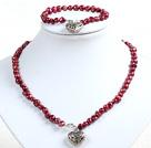紫红色土豆形珍珠项链手链套装
