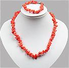 橘红色中号珊瑚小苗项链手链套链
