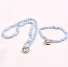 浅蓝色偏孔珍珠项链