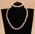 9-10mm少纹白粉紫珍珠项链手链耳环套装