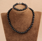9-10mm少纹黑珍珠项链手链耳环套装