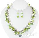染色珍珠水晶贝壳套链