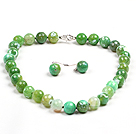 绿色火玛瑙项链耳环套链
