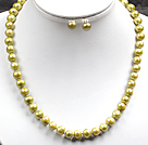 8-9mm黄绿色珍珠项链耳钉套装