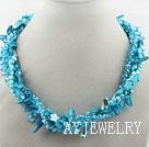 湖蓝色珍珠水晶贝壳项链