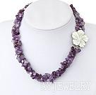 圆角紫水晶珍珠项链