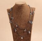 白水晶贝壳长款毛衣链项链