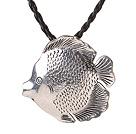 热带鱼藏银吊坠项链 皮绳