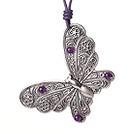 藏银蝴蝶吊坠 配紫玉皮绳