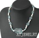 蓝水晶珍珠项链