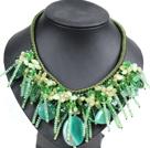 水晶绿玛瑙东陵玉绳结项链
