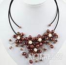 棕色珍珠花朵项链