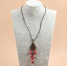 复古红色水晶皮绳项链