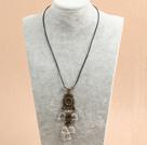 复古白水晶桃心皮绳项链