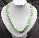 12mm浅绿色玻璃珍珠圆珠项链