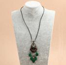 复古水晶孔雀石皮绳项链