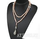 天然粉色珍珠水晶项链毛衣链