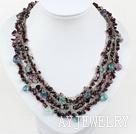 石榴石紫萤石项链