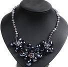 灰色珍珠水晶花朵项链