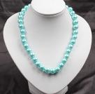 12mm浅蓝色玻璃珍珠圆珠项链