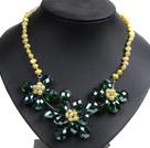 黄色珍珠水晶花朵项链