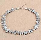 灰色棍状再生珍珠项链