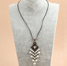 复古白色贝壳珠皮绳项链