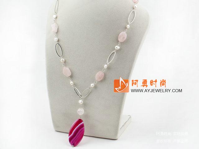 珍珠芙蓉石玛瑙吊坠项链