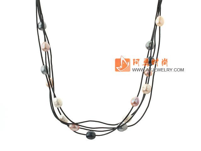 多色珍珠皮绳项链
