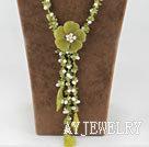 珍珠橄榄玉项链