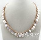 白色纽扣珍珠项链