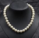 12mm象牙色玻璃珍珠圆珠项链