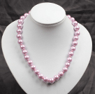 12mm紫罗兰色玻璃珍珠圆珠项链
