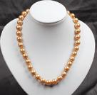 12mm金棕色玻璃珍珠圆珠项链