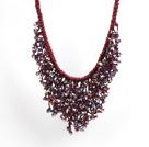 紫红色系水晶水滴礼服项链