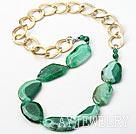 绿色晶体爆纹切角玛瑙项链(链子可拆装)