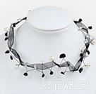 黑白水晶珍珠项链