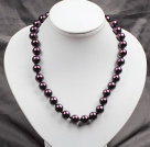 12mm深紫色玻璃珍珠圆珠项链