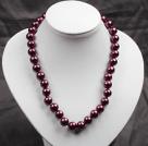 12mm紫红色玻璃珍珠圆珠项链
