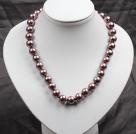 12mm浅褐色玻璃珍珠圆珠项链