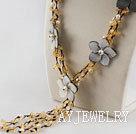 黄水晶贝壳花项链