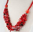 珊瑚血石水晶项链
