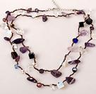 长款紫晶蛋白石白水晶黑玛瑙项链(可做多层项链或手链)