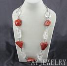 天然水晶红石项链